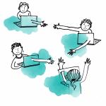 Tekening van Martine Vanremoortele - Storyweavers reiken elkaar de hand doorheen hun computerscherm